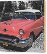 Pink And White Cuban Taxi Wood Print