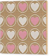 Pink And White Hearts Wood Print