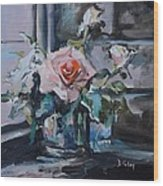 Pink And White Roses In Silver Mug Wood Print