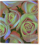 Pink And Yellow Roses Pop Art Wood Print