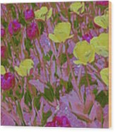 Pink And Yellow Tulips Pop Art Wood Print