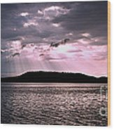 Pink Angel Rays -sunrise Wood Print