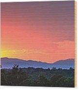 Pink Arc Above The Blue Ridge Wood Print