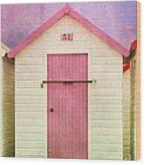 Pink Beach Hut Wood Print