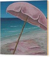 Pink Beach Umbrella Wood Print