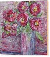 Pink Beauties In A Blue Crystal Vase Wood Print