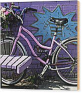 Pink Bicycle Wood Print