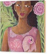 Pink Bird Wood Print