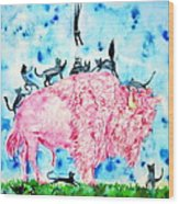 Pink Bison And Black Cats Wood Print