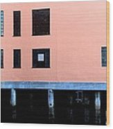 Pink Building On The Wharf Wood Print