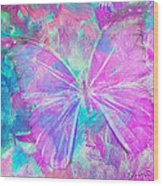Pink Butterfly By Jan Marvin Wood Print