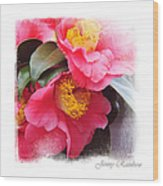 Pink Camellia. Elegant Knickknacks Wood Print by Jenny Rainbow