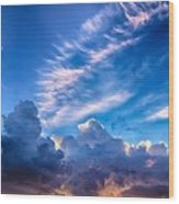 Pink Cloud Trails Over Mount Olympus Wood Print