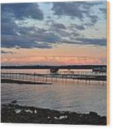 Pink Clouds On Grand Traverse Bay Wood Print