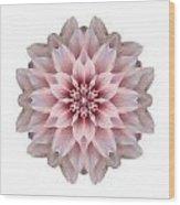Pink Dahlia I Flower Mandala White Wood Print