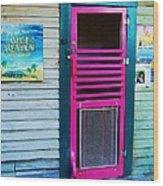 Pink Door Wood Print