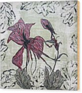 Pink Dragonfly Flora Wood Print