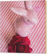 Pink Easter Bunny Decoration Wood Print