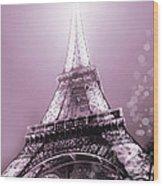 Pink Eiffel Tower Paris Wood Print