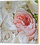 Pink English Rose Among White Roses Art Prints Wood Print