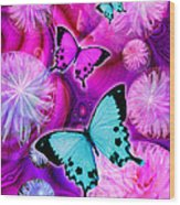 Pink Fantasy Flower Wood Print