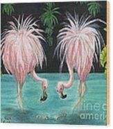 Pink Flamingo Booty Tropical Birds Art Cathy Peek Wood Print