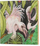 Pink Flamingos Jungle Cathy Peek Tropical Bird Art Wood Print