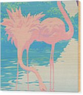 abstract Pink Flamingos retro pop art nouveau tropical bird 80s 1980s florida painting print Wood Print