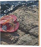 Pink Flip Flop Wood Print