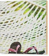 Pink Flip Flops On Backyard Rope Hammock Vintage Scratched Style Wood Print