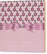 Pink Flowered Hearts  Wood Print