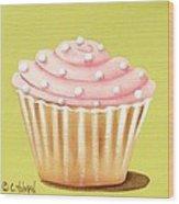 Pink Fluff Cupcake Wood Print