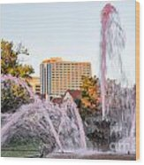 Pink Fountain For Breast Cancer Wood Print by Terri Morris