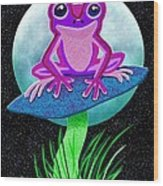 Pink Frog And Blue Moon Wood Print