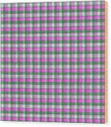 Pink Green And White Plaid Pattern Cloth Background Wood Print