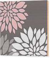 Pink Grey White Peony Flowers Wood Print