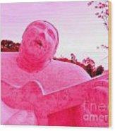 Pink Guitarist Wood Print