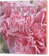Pink Hollyhock Mother's Day Card Wood Print