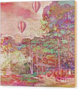 Pink Hot Air Balloons Abstract Nature Pastels - Dreamy Pastel Balloons Wood Print