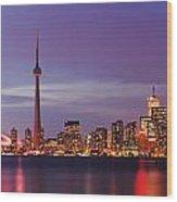 Pink Hour On Toronto Skyline Panorama Wood Print