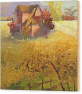 Pink House Yellow Field Wood Print