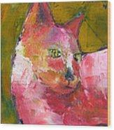 Pink Kitty Wood Print