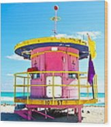 Pink Lifeguard Post Wood Print
