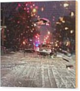 Pink Lights In Snowtrax Wood Print