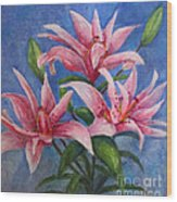 Pink Lilies Wood Print by Terri Maddin-Miller
