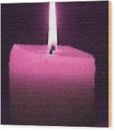 Pink Lit Candle Wood Print