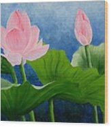 Pink Lotus On Blue Sky Wood Print