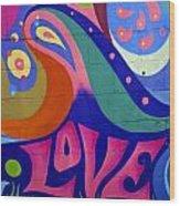 Pink Love Graffiti Nyc 2014 Wood Print