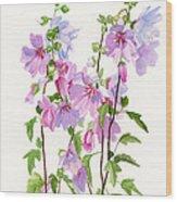 Pink Mallow Flowers Wood Print