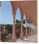 Pink Marble Colonnade Wood Print